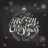 Merry Christmas And Happy New Year typographic background.  — Wektor stockowy