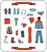 Snowboard equipment.  — Stock Vector