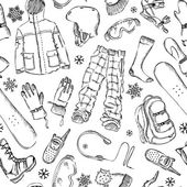 Seamless pencil pattern of snowboard gear. — Stok Vektör