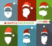 Santa hats and beards.  — Stock vektor