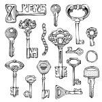 Set of vector vintage keys. — Stock Vector #58274545