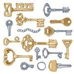 Vector vintage keys. — Stock Vector #58274569