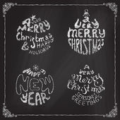 Chalk A Very Merry Christmas And Happy New Year balls.  — Stock Vector