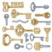 Vettore di chiavi d'epoca. — Vettoriale Stock