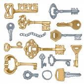 Vector vintage keys.  — Stock Vector