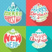 Merry Christmas And Happy New Year letterings.  — Stock Vector