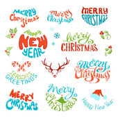 Vector set of retro elements for Christmas designs.  — Stock Vector