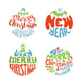 A Very Merry Christmas And Happy New Year balls.  — Stock Vector