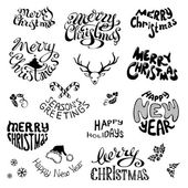 Christmas icons and festive elements.  — Stock Vector