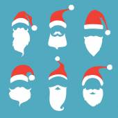 Santa hats, moustache and beards.  — Stock Vector