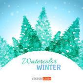 Fundo aquarela inverno. — Vetor de Stock