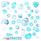 Vector set of blue watercolor traces.  — Stock Vector