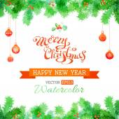 Vector watercolor Christmas background. — Wektor stockowy