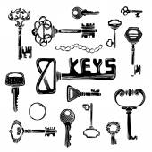 Vector set of black key silhouettes.  — Vetor de Stock