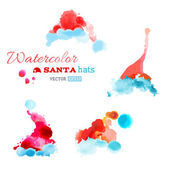 Watercolor Santa hats isolated on white background. — Stok Vektör