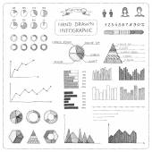 Set of doodles business infographic. — Vector de stock