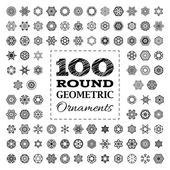 Set of 100 round geometric ornaments.  — Stock Vector