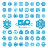 Set of 50 round geometric ornaments.  — Stock Vector