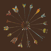 Hand-drawn arrows on brown background.  — Stockvektor