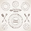 Ethnic arrows, round frames and page dividers. — Stock Vector #62760493