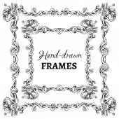 Vector set of hand-drawn vintage frames.  — Stock Vector