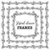 Vector set of square vintage frames — Stock Vector