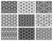 Set of nine seamless geometric patterns.  — Stock Vector