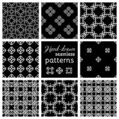 Set of nine seamless geometric patterns.  — Vector de stock