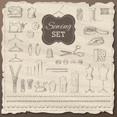 Vector set of sketch sewing elements.  — Stock Vector