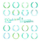 Vector set of watercolour nature wreaths. — Stock Vector