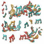 Vector set of  bright retro music page decorations.  — Stock Vector