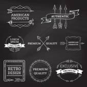 Vector set of chalk arrows design elements on blackboard background. — Stock Vector