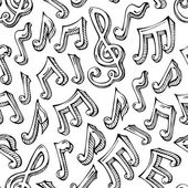 Vector seamless pattern of sketch music notes. — Stock Vector