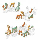 Vector set of  retro music page decorations. — Stock Vector