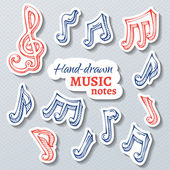 Vector set of paper music stickers. — Stock Vector