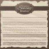 Vector set of seamless sewing borders.  — Wektor stockowy