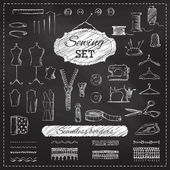 Chalkboard sewing set.  — Stock Vector