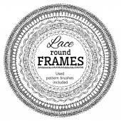 Vector set of lace round frames. — Stock Vector