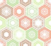 Coloured crochet hexagons. — Stock Vector