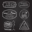 Vector set of linear chalk badges, labels, logo templates and frames. — Stock Vector #68409657
