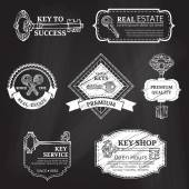 Vector set of chalk badges, labels, logo templates and frames. — Stock Vector