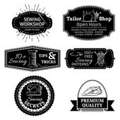 Vector set of sewing linear retro badges, labels, logo templates and frames. — Stockvector