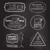 Vector set of linear chalk badges, labels, logo templates and frames. — Stock Vector