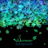 Set of various summer leaves silhouettes on black background.  — Stock Vector