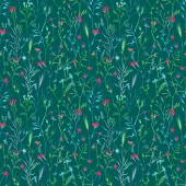 Vector seamless pattern of flowers and grass. — Stock Vector