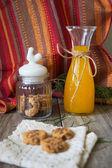 Cookie  with orange juice — Stock Photo