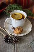 Cookie  with tea — Stock Photo