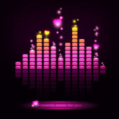 Digital romantic equalizer with hearts — Stock Vector