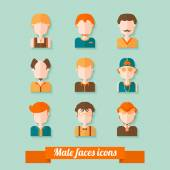 Male faces icons set in trendy flat style — Stok Vektör