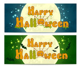 Two halloween banners with full moon and bats — Stok Vektör